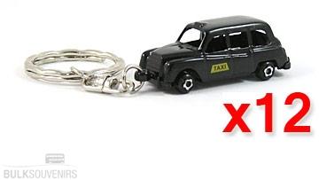 12x Die Cast Metal London Souvenir Taxi Keyrings