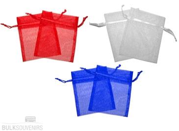12x Organza Gift Bags 9 x 7 cm