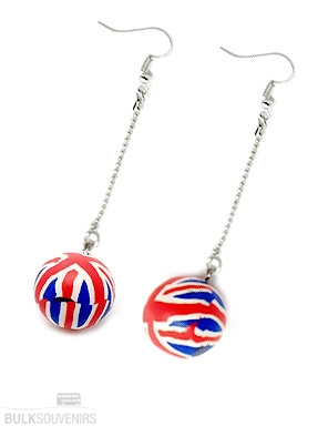 12x Pairs of Fimo Union Jack Earrings