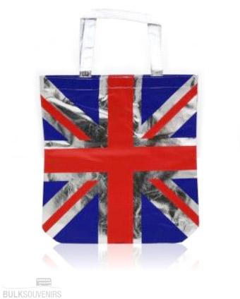 UK Metallic Silver Union Jack Shopping Bag